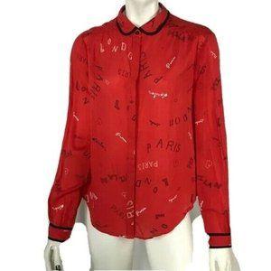 Anthropologie Maeve Button Up Shirt Paris London